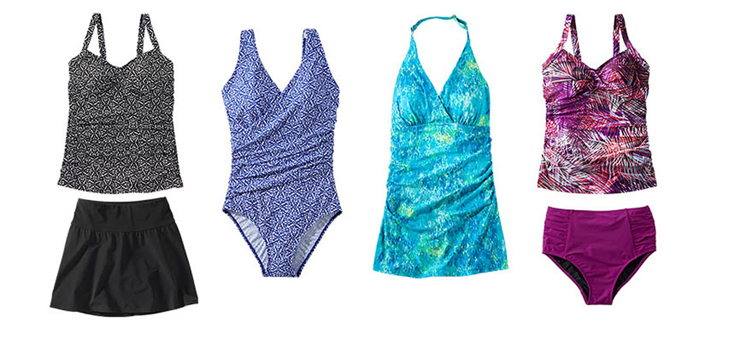 An assortment of L.L.Bean Slimming swimsuits.