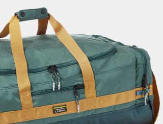 Close-up of a duffle bag.
