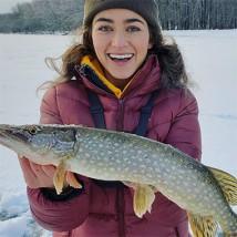 Girl ice fishing