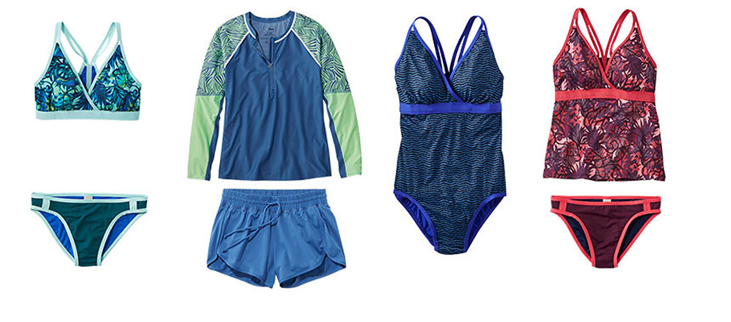 An assortment of L.L.Bean ReNew swimwear.